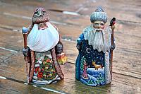 Two Miniature Santas Carved from Wood