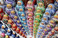 Colorful Rows of Matryoshkas Gathering Together