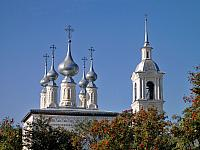 Silver Domes and Bell Tower of Smolenskaya church (Suzdal)