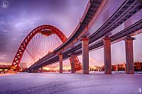 Under Zhivopisny Bridge Curve in Winter Twilight
