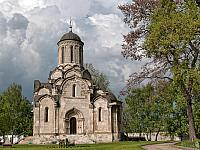 White-Stone Cathedral of the Saviour Against Rain Clouds in Spring