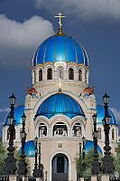 Trinity Cathedral with Shiny Blue Cupolas Against the Blue Skies