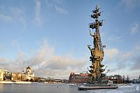 Moscow Winter Cityscape with Monument to Peter the Great