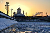 Winter Sunset Behind Christ the Savior Cathedral
