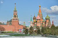 Moscow Kremlin Towers and St. Basil's Cathedral in Springtime
