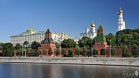 Unclouded Blue Sky Above Moscow Kremlin in Summer Morning
