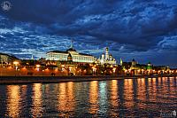 Moscow Kremlin Under Grey Clouds in Spring Twilight