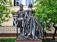The monument to Pushkin and Goncharova at Old Arbat