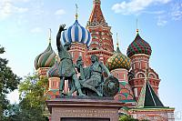 Statue of Minin and Pozharsky and Domes of St. Basil's Cathedral