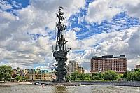 Monument to Peter the Great Under White Clouds in Summer