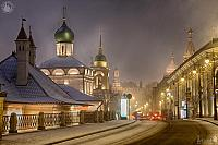 Illuminated Buildings at Varvarka Sreet in Snowfall