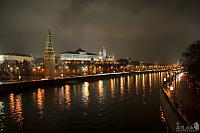 A Foggy and Rainy Night Along the Moscow River and Kremlin