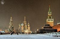 Red Square Under the Snow Before Christmas