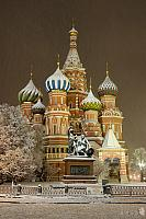 St. Basil's Cathedral Bathed in Evening Snow