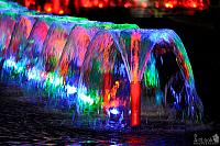 Colorful Water Jets of Wine-Glass Shape Fountains in Victory Park