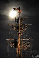 Mast with Sails under Moonlight