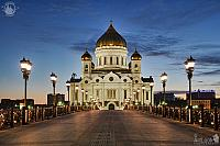 Patriarchy Bridge and Cathedral of Christ the Savior at Twilight