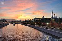 Moscow Kremlin Embankment at Amazing Sunset