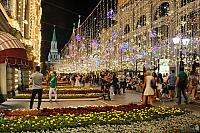 Festive Lights Over Nikolskaya Street and Beautiful GUM Flowers