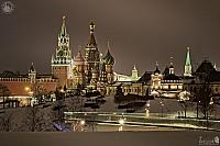Kremlin Towers and St. Basil's Cathedral in the Winter Night