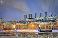 Power Plant #1 at Festive Raushskaya Embankment in Winter Twilight