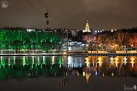 Cable Car Across Moskva River and Illuminated Sparrow Hills on Winter Evening