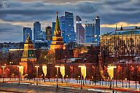 Kremlin Towers and Moskva City Skyline in Winter Twilight