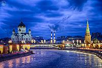 Winterscape of Icy Moskva-River and Moscow Landmarks in Blue Hour