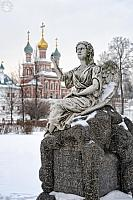 Olga Mravinskaya Grave and Intersession Church Covered Snow