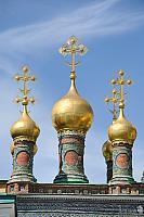 Golden Onion-Shape Domes with Crosses of Terem Churches