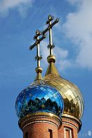 Blue & Gold Mirror-tiled Onion Domes of church in Vostryakovo
