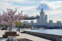 At Moskvoretskaya Embankment in Early Spring Sunny Morning