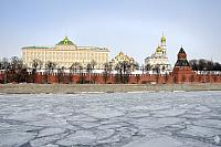 At Ice-bounded Moskva River with Background of Moscow Kremlin