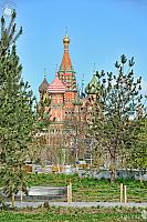 St. Basil's Cathedral Framed by Trees in Spring