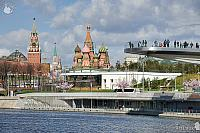 Overview Moscow Landmarks at Zaryadye Park in Spring