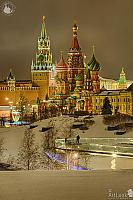 Snow Covered St. Basil's Cathedral and Spasskaya Tower in Winter