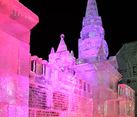 Icy Miniature of Moscow Kremlin Aglow in Rosy Pink Light