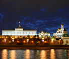 Twilight Skies Over Illuminated Moscow Kremlin