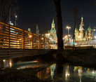 Reflections of Moscow Landmarks in Park Zaryadye at Night