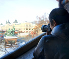 Taking Photos of Red Square from St. Basil's Cathedral