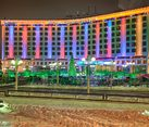 Festive New Year Lights of Radisson Slavyanskaya Hotel