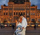 In the Middle of Red Square in Background of GUM Mall in Twilight