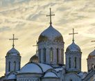 Helmet Domes of Assumption Cathedral at Winter Sunset (Vladimir)