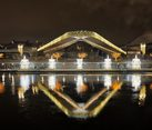 V-Shaped Floating Bridge and Pier of Zaryadye Park in New Year Night