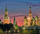 Moscow Landmarks at Pink Sunset