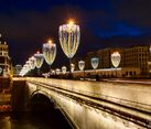 New Year Lights of Bolshoy Moskvoretsky Bridge in Dusk