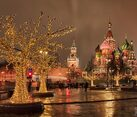 Moscow Landmarks and Light Trees in Winter Night
