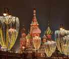 St. Basil's Cathedral Framed by New Year Street Lights
