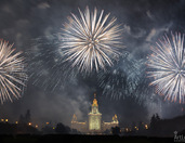 Spectacular Firework Show on Sparrow Hills - Part of Circle of Light Festival in Moscow