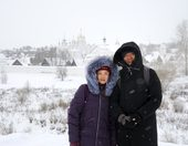 In Background of Intercession Convent in Suzdal in Snowfall